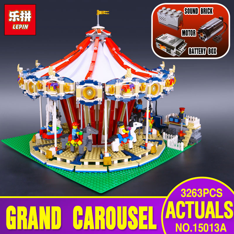 New Lepin 15013 City Street Carousel Model Building Kits Assembling Blocks Toy Compatible with 10196 toys Educational Toys Gifts superwit 72pcs big size city diy creative building blocks brick compatible with duplo sets lepin educational toys children gifts