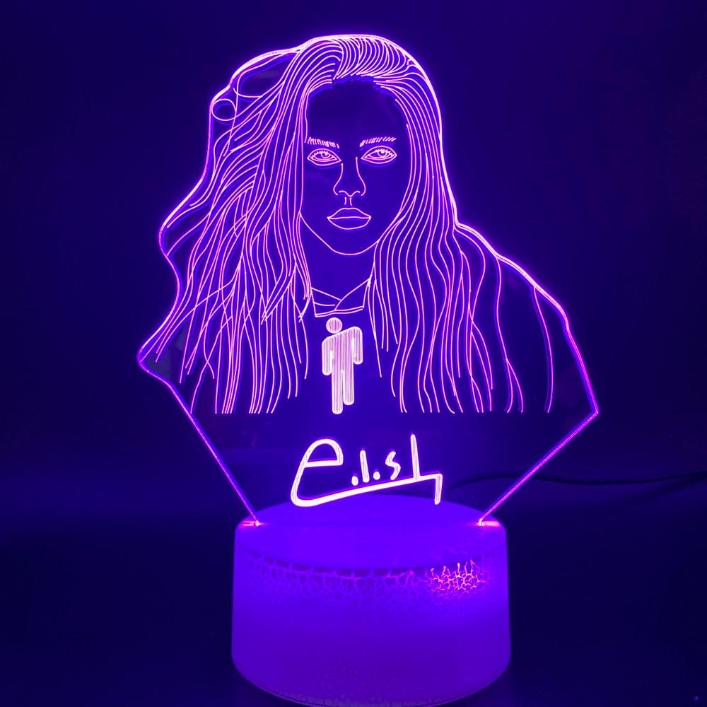 Novelty Lights Billie Eilish Figure Office Home Decor Table Lamp Dropshipping Fans Gift Custom 3D Illusion Led Night Light Lamp