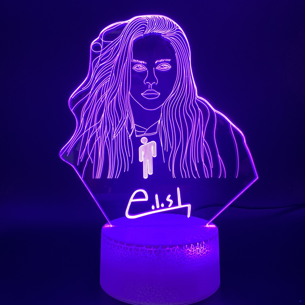 Novelty Lights Billie Eilish Figure Office Home Decor Table Lamp Dropshipping Fans Gift Custom 3D Illusion Led Night Light Lamp image