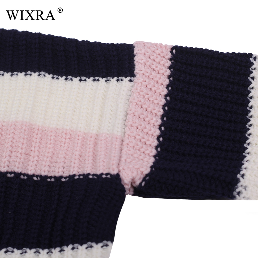 Wixra Winter Women Striped Sweater Female Knitted Sweaters And Pullovers Femme O Neck Pull Loose Sweater Jumper Tops
