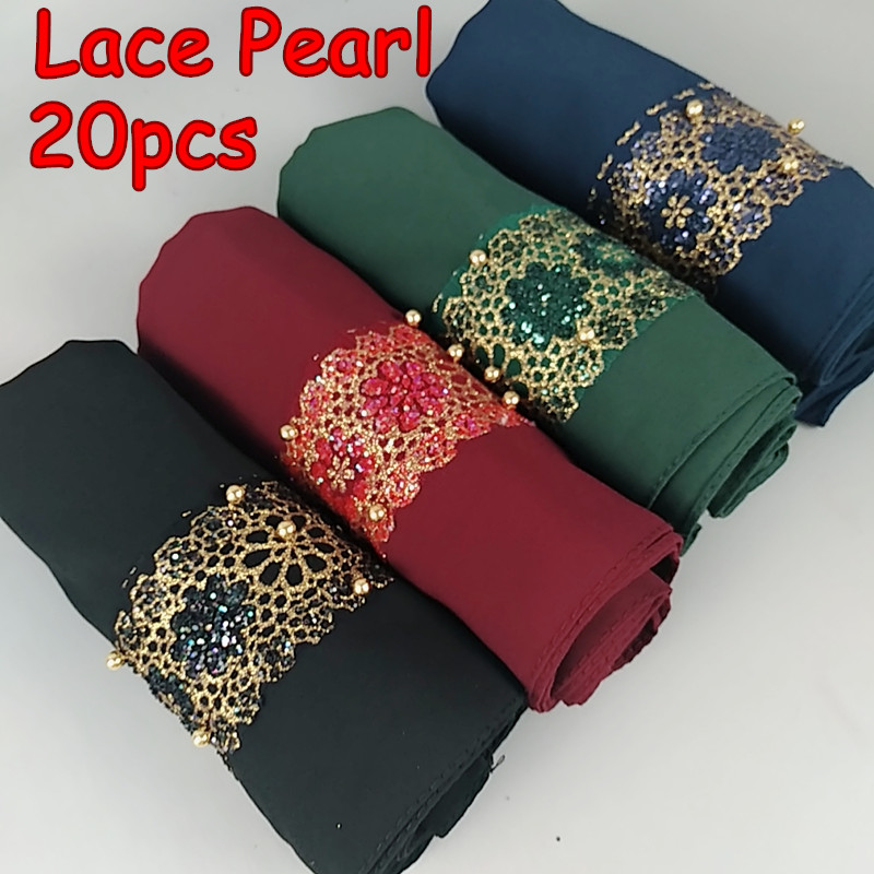 H9  20pcs High Quality Lace Pearl Bubble Chifffon Hijab  Lady Shawls  Women Scarf Scarves 180*75cm Can Choose Colors