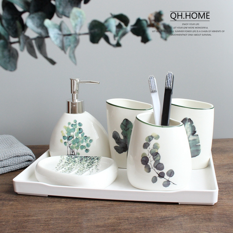 Bathroom:  Nordic green plant ceramic six-piece bathroom products Simple five-piece wedding bath set Bathroom ceramic set melamine tray - Martin's & Co