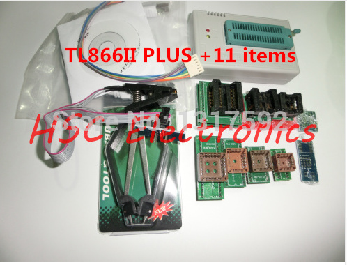 Free Shipping MiniPro TL866II PLUS 11items IC Clamp SOIC8 Russian English REPLACE TL866A
