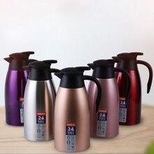 304 termos ze stali nierdzewnej 2L termos izolowany próżniowo gorący pojemnik na wodę dzbanek do mleka kawy dzbanek termiczny do domowego biura
