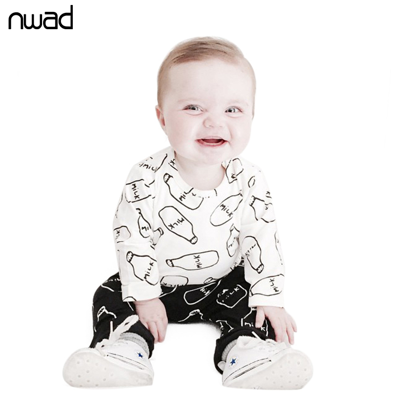 2017 Autumn Fashion Baby Boys Clothes Unisex  Cotton Long Sleeved Milk For Clothing Set Newborn Baby Girls T-shirt+Pants FF210 cotton baby rompers set newborn clothes baby clothing boys girls cartoon jumpsuits long sleeve overalls coveralls autumn winter