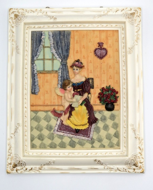 US $38 85 13% OFF|Wall Art Decor Resin Statue Mother's love Figurine  Picture Framed Ready to Hang Hand painted Sculpure 8*10 inches-in Statues &