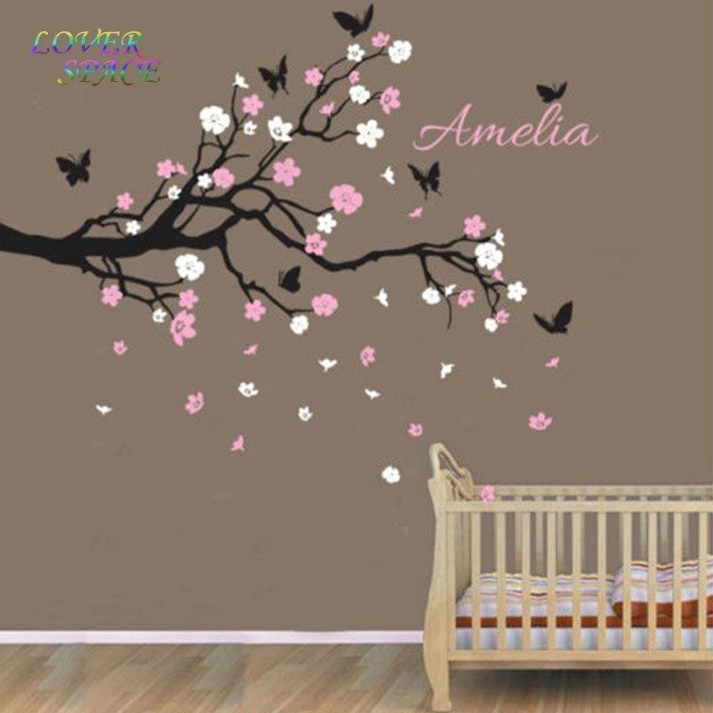 En vente personnalisé nom personnalisé oiseaux papillon branche Sticker mural décalcomanie décor pépinière Stickers muraux pour enfants chambres 135X70 CM