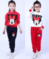 Girls Sports Suits Mickey Minnie Mouse Long Sleeve Hooded Pullover & Pants Two pieces Sets for girls KIds Clothes 2-9 Yrs