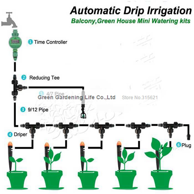 Aliexpress.com : Buy 5M Timing Automatic Drip Irrigation System Home Garden  Balcony Greenhouse Flower Watering Kits Unmanned Operation Irrigator From  ...
