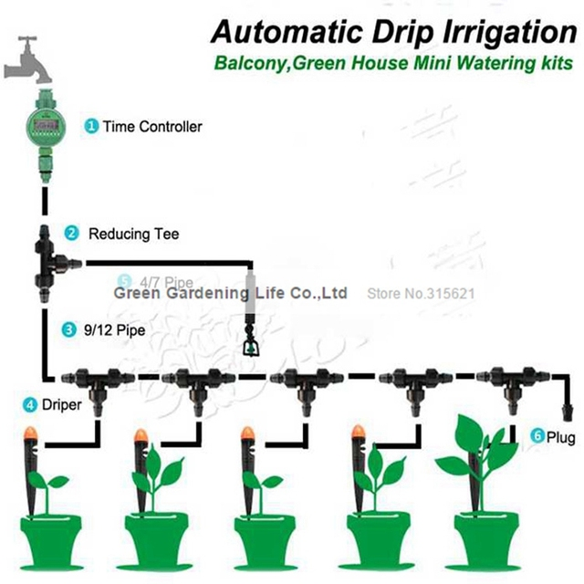 5m timing automatic drip irrigation system home garden for Home garden drip irrigation design