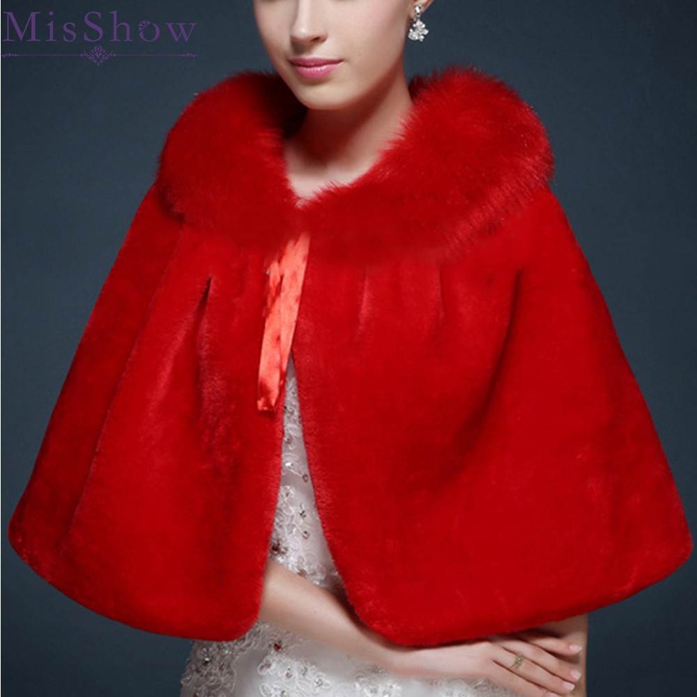 Red Ivory Accessories Wedding Wraps Shawl Cloak Cape Jacket Bridal Bolero Winter Faux Fur Wraps Coat Stole Evening bridal cape