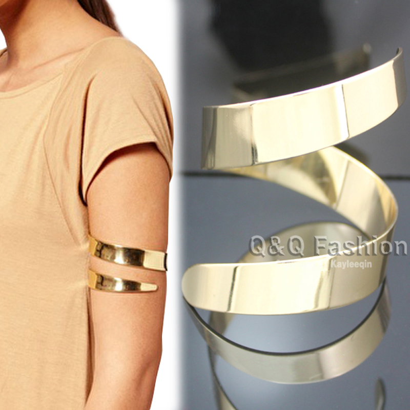 Gold Egypt Cleopatra Swirl Snake Upper Arm Cuff Armlet Armband Big Wide Bangles Viking Bracelet Pulseiras Indian Jewelry Anime