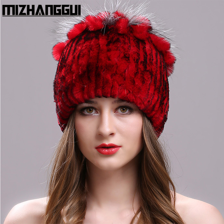 Knitted Cap for Women 100% Real Rex Rabbit Fur Hat with Flowers Tops Warm High Quality Beanie Women's Fur Hats for The Winter