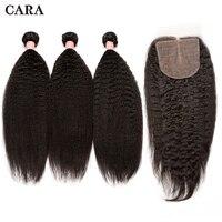 Странный прямые волосы бразильский человеческих волос Связки с закрытием 3 пучки волос 4x4 шелк база кружева застежка CARA