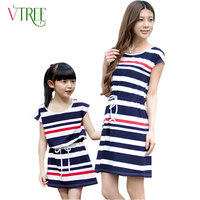 Fashion Matching Mother Daughter Clothes Navy Wind Striped Family Dress Family Outfits Cotton Dress Mother Kids