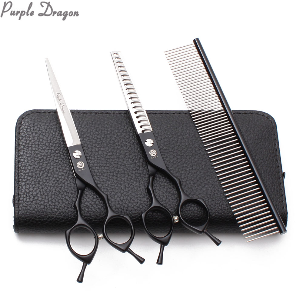 1Set 7INCH 440C Puppy Grooming Scissors Straight Scissors Thinning Shears Professional Pets Scissors Dogs Scissors Add Bag Z9029
