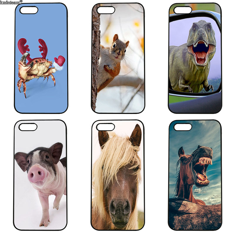 Lovely Funny Animals Mobile Phone Cases Hard PC Plastic Cover for iphone 8 7 6 6S Plus X 5S 5C 5 SE 4 4S iPod Touch 4 5 6 Shell