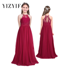f020876709 YiZYiF Girls Lace Chiffon Dress Sleeveless Halter Flower Girl Dress Princess  Pageant Wedding Bridesmaid Birthday Party