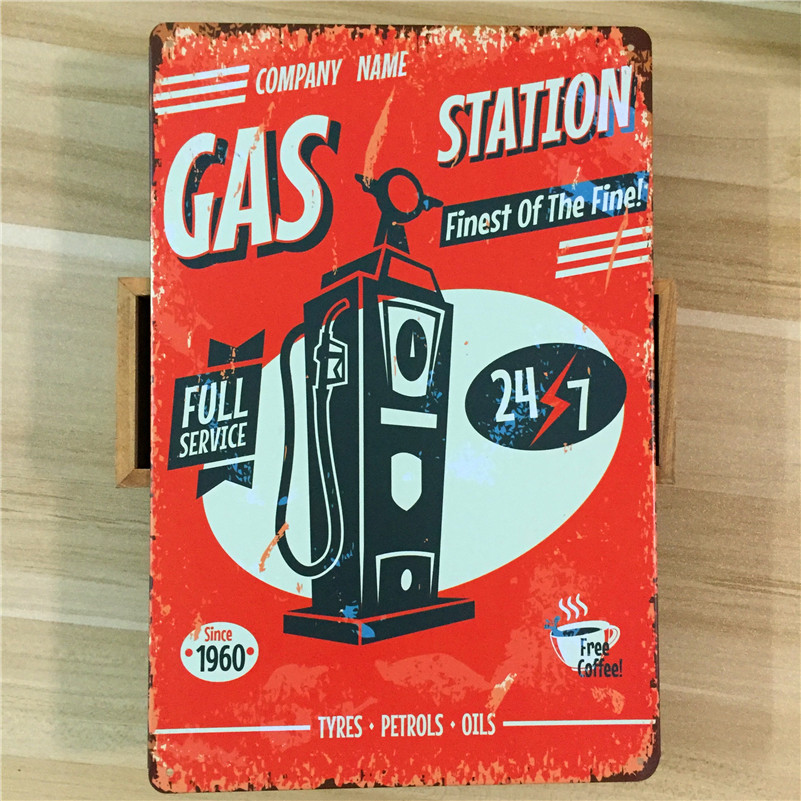 GAS and vintage car metal Tin signs malt vintage home decor decorative plaques for bar wall art craft 20X30CM SP-QC-066