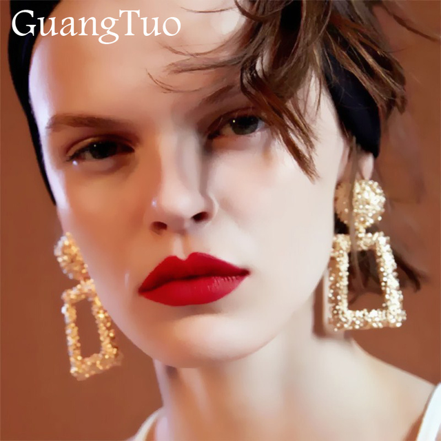 Vintage Earrings For Women Geometric Statement Earring 2018 Gold Color Metal Earing Hanging Fashion Jewelry Trend Ek815