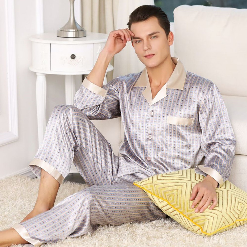 Mens Pajamas Silk Satin Long-sleeved Sets Comfortable Coat + Pants Elastic Waist Luxury Nightwear Suit Print Mens Pajama Set