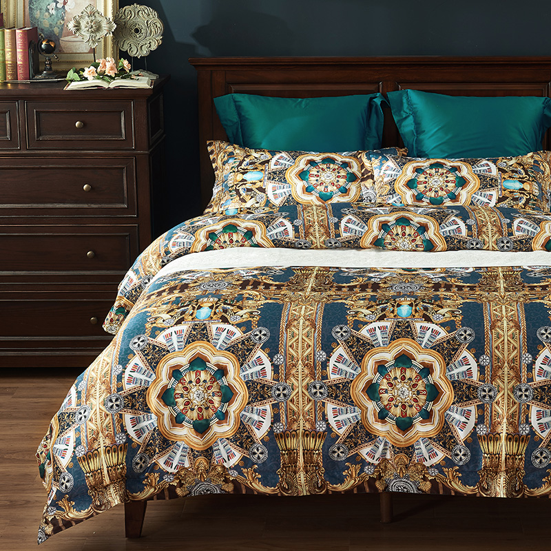 luxury 1000TC Egyptian 100% cotton Bedding Sets Queen King Size Duvet Cover Sets Bed Sheets 4pcs Geometric bohemia bedspreadsluxury 1000TC Egyptian 100% cotton Bedding Sets Queen King Size Duvet Cover Sets Bed Sheets 4pcs Geometric bohemia bedspreads