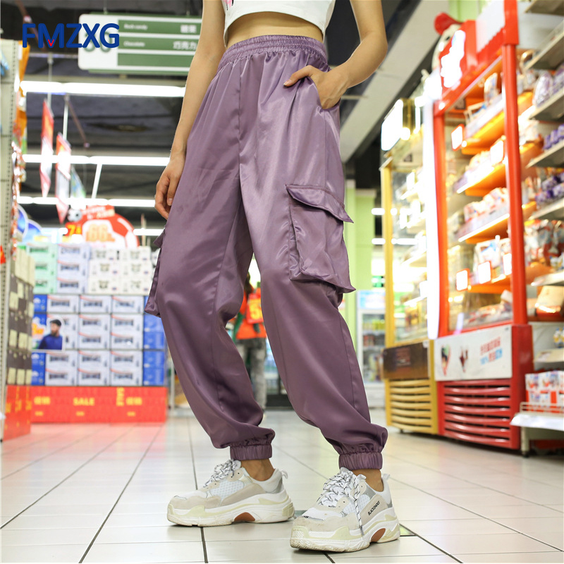 Casual Loose Women Cargo Pants Capri High Waist Long Trousers Streetwear Solid Female Flat Sweatpants Pockets Purple Cargo Pants