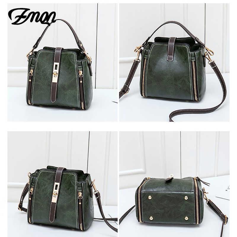 Zmql bolsa de cubo Retro para mujer bolsos de mensajero pequeño bolso de cuero de PU bolso de mujer con solapa bandolera para mujer verde 2019 c201