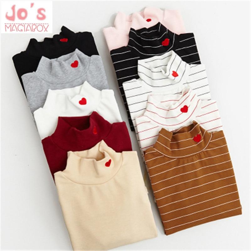 Primavera estilo de las mujeres de la moda a rayas Harajuku colores de caramelo corazón T Shirt Kawaii algodón cuello alto camiseta Casual dama Tops Linda TS030