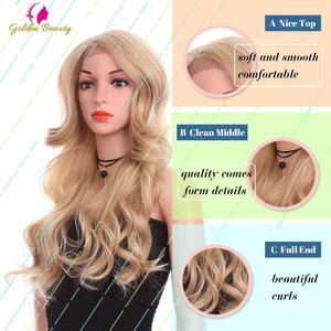 Image 2 - זהב יופי 24 אינץ Loose גל פאה ארוך שיער סינטטי תחרה מול פאות צד חלק Ombre חום בלונד קוספליי פאות עבור נשים