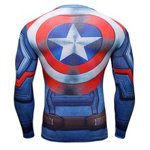 New Arrival Men 3D Printed Captain America Sport T-Shirt Compression Long Sleeve Quick Dry High Elastic Tights Fitness Clothing