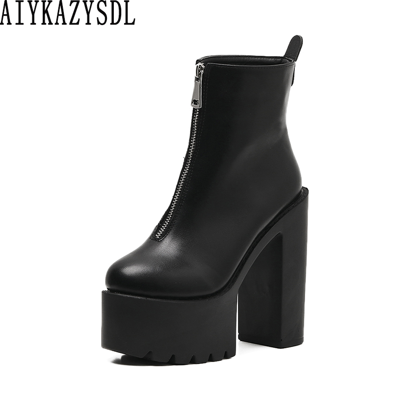 6b3fa8f90c7 Detail Feedback Questions about AIYKAZYSDL 2018 Autumn Boots Women Ultra  Very High Heels Platform Shoes Thick Block Heel Motorcycle Shoots Bootie  Plush ...