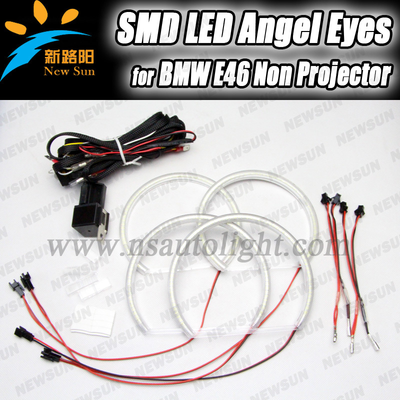 ФОТО Free shipping 2016 Brand New 3 SERIES E46 REFLECTOR 3014 SMD LED ANGEL EYE KIT NON-PROJECTOR TYPE for BMW E46