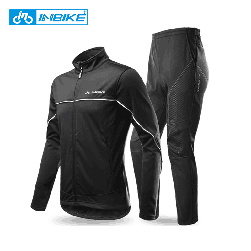 INBIKE Winter Men s Cycling Jacket Pants Set Fleece Warm Thermal Windbreaker Shell Coat Windproof Clothing