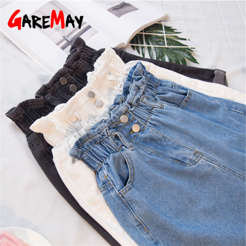 Garemay Women's Denim   Shorts   Large Size Summer 5Xl High Waist Elastic Waist Harem Ruffle   Shorts   Jeans For Women Xxxl