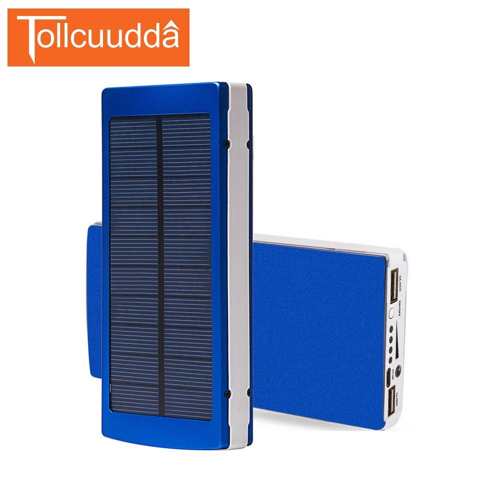 imágenes para Tollcuudda 15000 MAH Banco de la Energía Solar Cargador Solar de Batería externa de alta Capacidad de Doble USB cargador de teléfono portátil con luz LED
