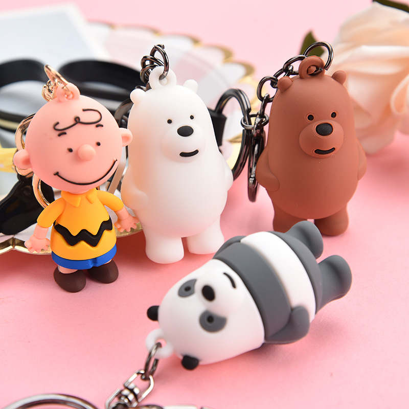 Cartoon Charlie Bear Doll Toy Leather Rope Kids Keychain Fluffy Girls Birthday Gift Simulation Hand Toy Pendant Decoration