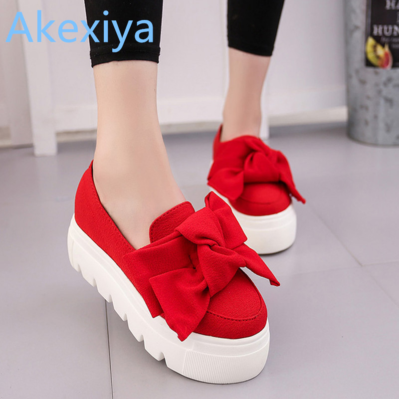 Akexiya 2017 autumn NEW women shoes bowtie muffin heavy-bottomed Platformquality Women Flats fashion loafers women casual Shoes fashion casual low top shoes heavy bottomed muffin shoes celebrity same paragraph with gold silver trainer shoes free shipping
