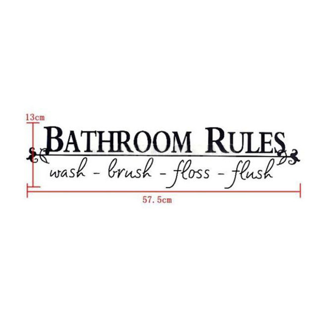 Bathroom Rules Vinyl Wall Art Decal Toilet Home Sticker Lettering Decor
