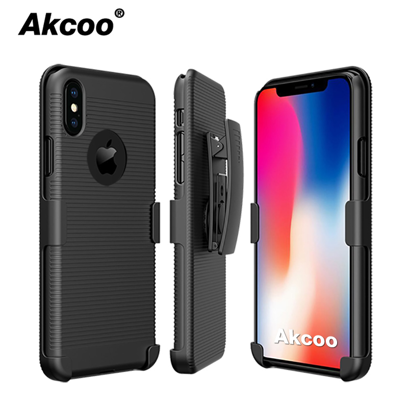 Akcoo for iPhone XS Max Belt Clip Case combo shell and holster cover 5 se 6s 7 8 Plus XR cases  with kickstand