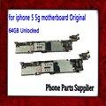 Buena calidad 64 gb placa lógica placa base con sistema ios, abierto original para iphone 5 5g motherboard con patatas fritas, envío gratis