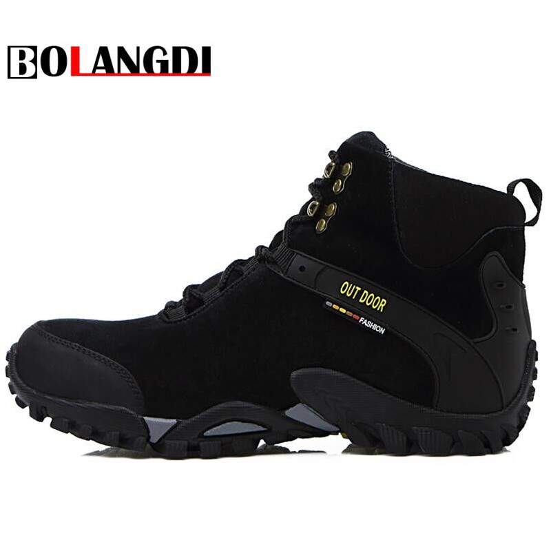 Bolangdi 2017 New Men Boots Autumn Winter Genuine Leather Plush Keep Warm Hiking Shoes Trekking Mountain Climbing Sneakers 2017 new autumn winter trekking boots men size 38 45 climbing shoes fur warm hiking sneakers blue black men mountain boots