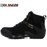 Bolangdi New Men Boots Autumn Winter Genuine Leather Waterproof Plush Keep Warm Hiking Shoes Trekking Mountain
