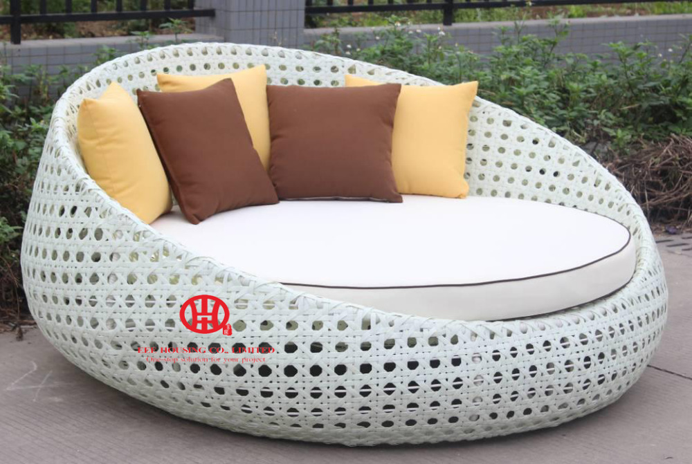 Outdoor Garden Furniture Leisure Rattan Round Sunbed ,rattan Outdoor Poolside Wicker Plastic Sunbed