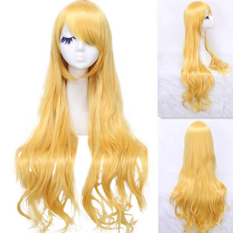 Women Fashion 80cm Synthetic Hair Long Wavy Blonde Cosplay Party Full Wig