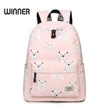 Свежий Водонепроницаемый полиэстер Для женщин школьная сумка-рюкзак розовый милый cool dog и Кролик шаблон печати Обувь для девочек Школьные сумки рюкзак