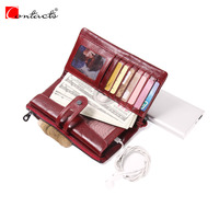 Contact S Genuine Leather Brand Women Wallets Ladies Purses Fashion Women Handbags With Card Holder Coin