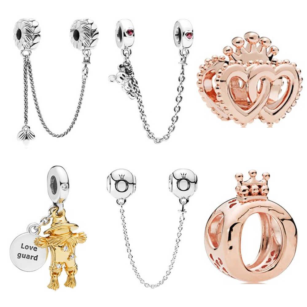 1 pieza de oro redondo Mickey Crown espantapájaros cadena de seguridad con cuentas calavera mamá elegante amor ajuste Pandora pulsera encantos plata 925 Original