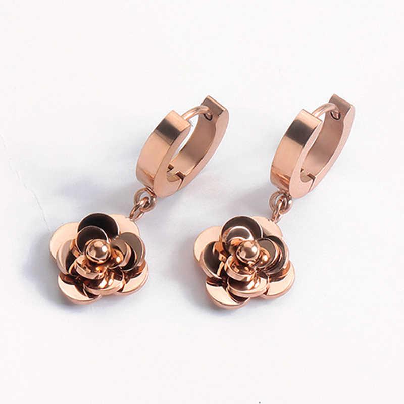 Mode-sieraden oorbellen rose gold Bulgaarse lady oorbellen rvs micro-set zirkoon oorbellen rose zoete oorbellen VE776