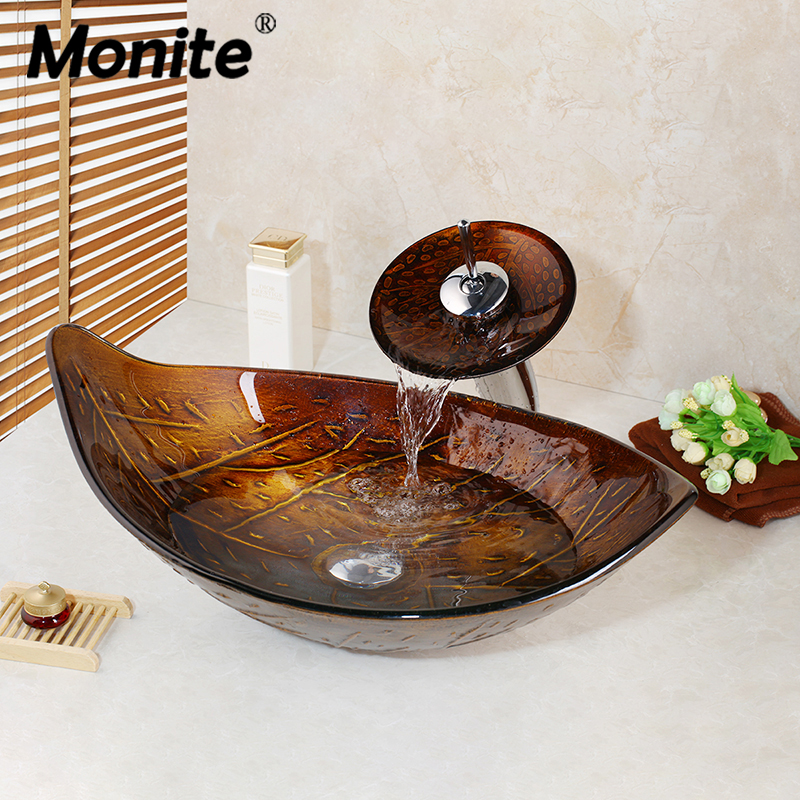 Monite Leaf Chrome Waterfall Tap Washbasin Tempered Glass Hand Painted Waterfall Lavatory Bathroom Sink Brass Faucet